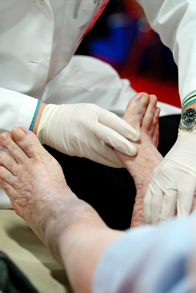 diabetes foot being examined